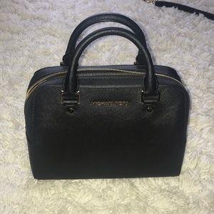 Black Michael Kors leather satchel w/ gold details